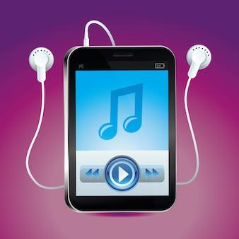 Lettore musicale vettoriale con touchscreen e pulsante play