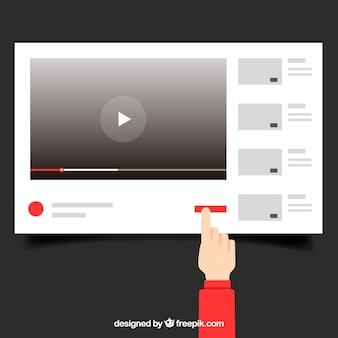 Lettore youtube con design piatto