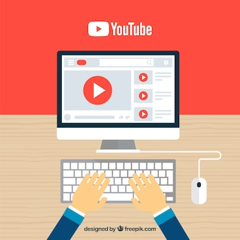 Lettore youtube nel dispositivo con design piatto