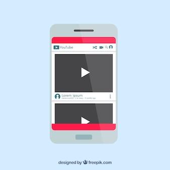 Lettore youtube nel dispositivo con design piatto