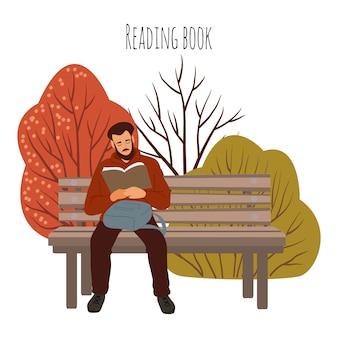 Lettura seduta all'aperto dell'uomo sul banco con il libro. illustrazione piatta isolato su bianco.