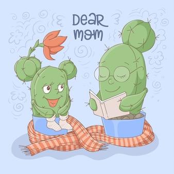 Lettura sveglia della mamma e della figlia dei cactus del fumetto