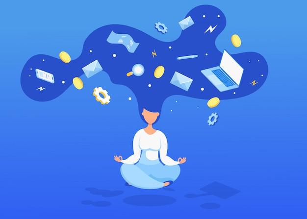 Levitare donna con monete, computer e un assegno. gestione del tempo, produttività e organizzazione.