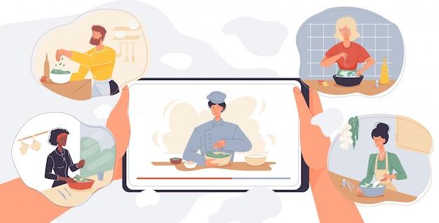 Lezione di cucina online sullo schermo del tablet