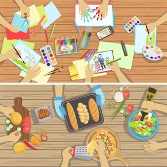 Lezioni artigianali e di cucina per bambini due illustrazioni con solo le mani visibili da sopra il tavolo