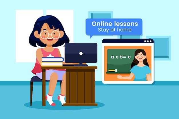 Lezioni online per bambini illustrati