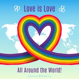 Lgtb orgoglio sfondo con cuore arcobaleno