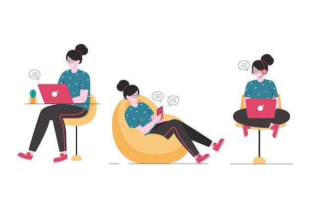 Libero professionista al lavoro casa remota flessibile