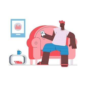 Libero professionista che lavora a casa tramite app mobile, illustrazione di schizzo.