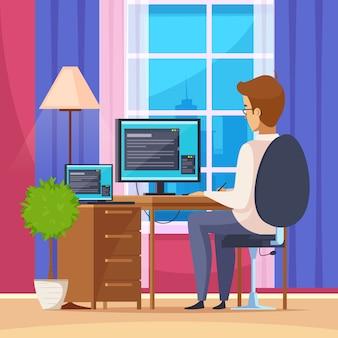 Libero professionista che lavora a casa