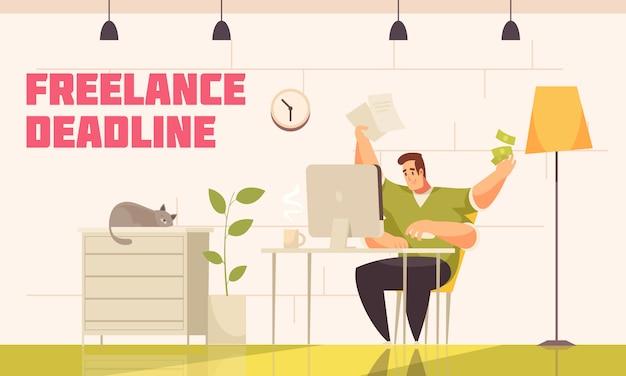 Libero professionista disperato che rispetta la dura scadenza dietro il computer di casa con i fumetti piatti di caffè extra per gatti di caffè