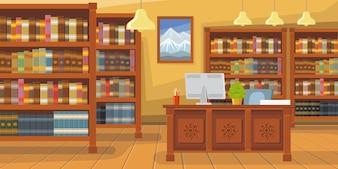 Libreria moderna con illustrazione di scaffale