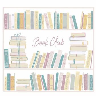 Libreria vintage. illustrazione disegnata a mano puerile nello stile semplice del fumetto nei colori pastelli.