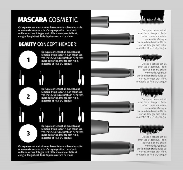 Libretto con oggetti di mascara vettoriale realistico