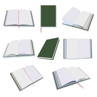 Libri aperti e chiusi, diario, icone piane del blocco note messe isolate su fondo bianco.