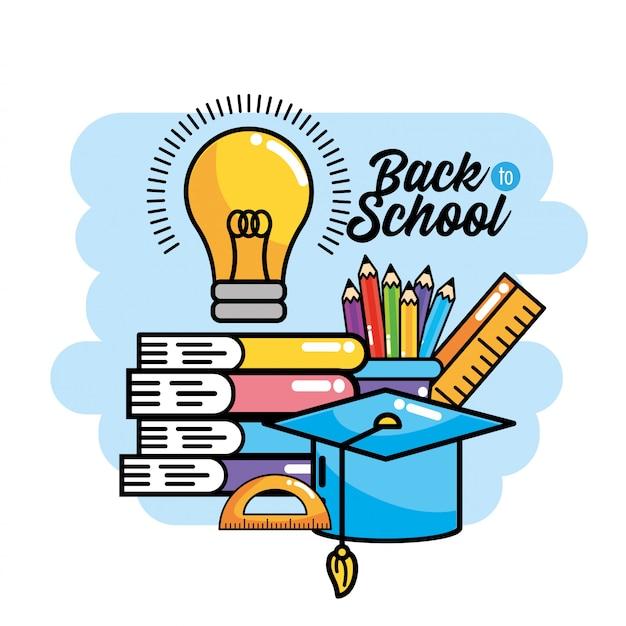 Libri con colori matite e bulbo idea a scuola