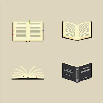 Libri, conoscenza e kit di lettura. pittogrammi a libro aperto, pile di libri. illustrazione variopinta di vettore del fumetto piano.