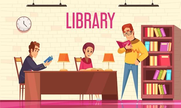 Libri di lettura della gente in biblioteca con lo scaffale per libri piano