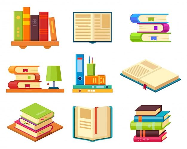 Libri isometrici sullo scaffale, set di pubblicazioni di biblioteca