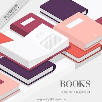 Libri sfondo in stile isometrico