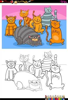 Libro a colori del gruppo di caratteri animali dei gatti felici