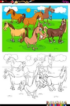 Libro a colori del gruppo di caratteri degli animali da allevamento dei cavalli