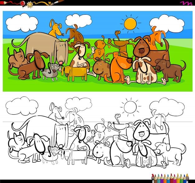 Libro a colori per grandi gruppi di personaggi animali cani