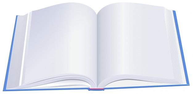 Libro a copertina rigida aperto con copertina blu