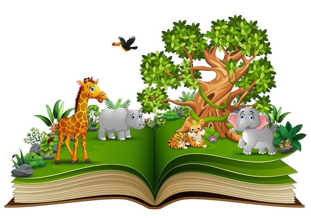 Libro aperto con animali cartoon e grande albero