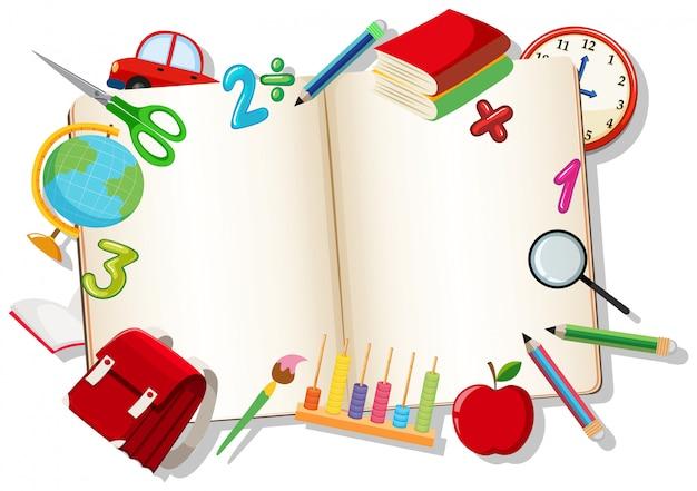 Libro aperto con elemento di apprendimento