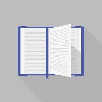 Libro aperto coperto blu con pagine vettoriali svolazzanti.