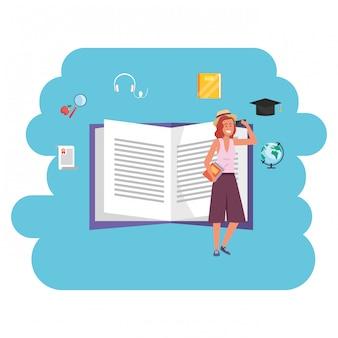 Libro aperto per studenti millenari della formazione online