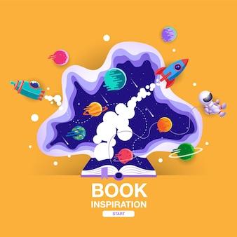 Libro aperto, sfondo dello spazio, scuola, lettura e apprendimento