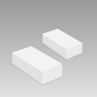 Libro bianco realistico o scatola di imballaggio in plastica su sfondo trasparente.