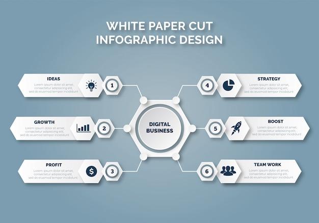 Libro bianco tagliato design infografico per le imprese
