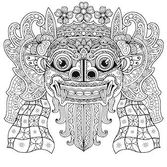 Libro da colorare barong balinese mandala design