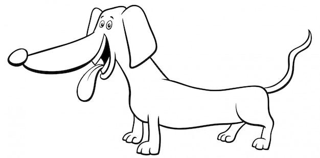 Libro da colorare cane di razza bassotto
