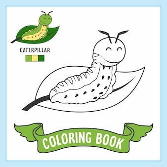 Libro da colorare con animali caterpillar