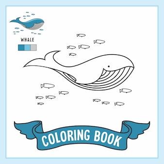 Libro da colorare con animali di pesce balena