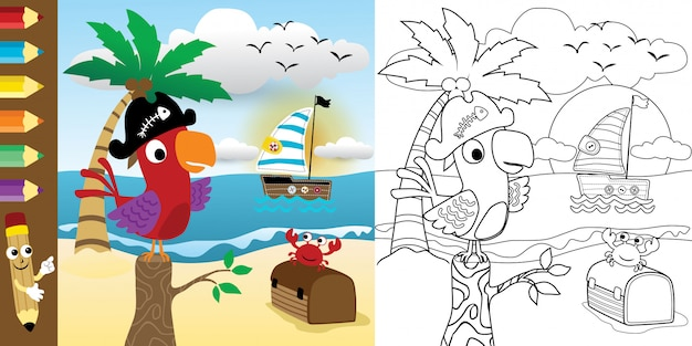 Libro da colorare con cartone animato divertente uccello in spiaggia
