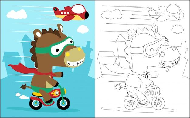 Libro da colorare con il cavallo il motociclista