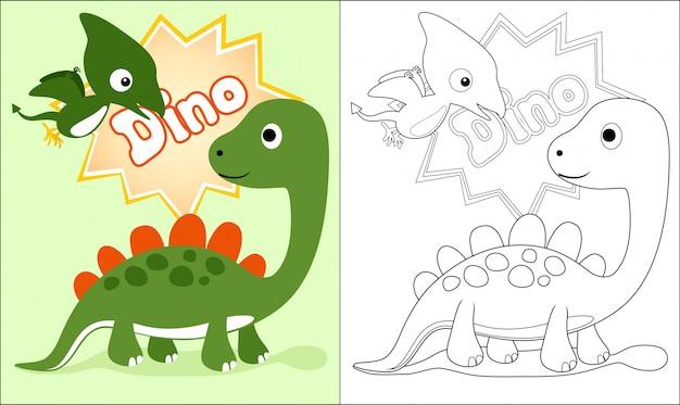 Libro da colorare con simpatico cartone animato di dinosauri