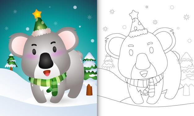 Libro da colorare con una collezione di personaggi natalizi di cervi koala con un cappello e una sciarpa