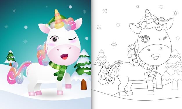 Libro da colorare con una collezione di personaggi natalizi di cervi unicorno con un cappello e una sciarpa