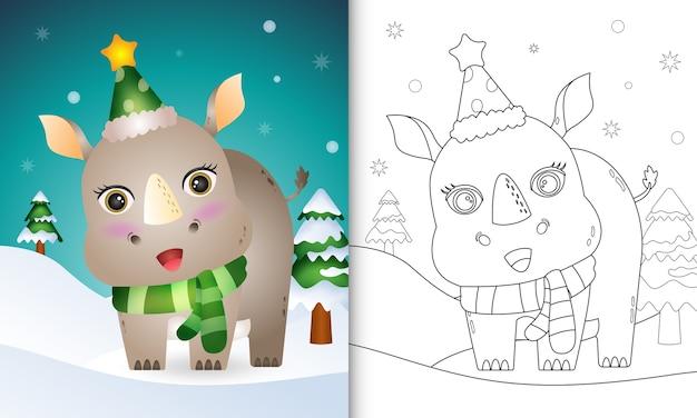 Libro da colorare con una simpatica collezione di personaggi natalizi di rinoceronte con un cappello e una sciarpa