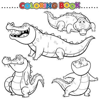 Libro da colorare dei cartoni animati - coccodrillo