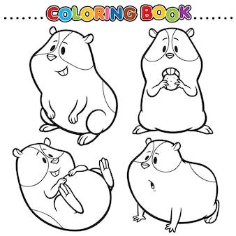 Libro da colorare dei cartoni animati - criceto
