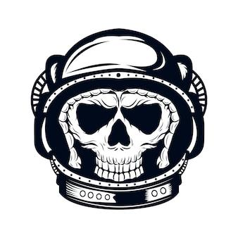 Libro da colorare della pagina di coloritura di vettore del cranio dell'astronauta