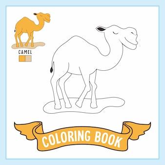 Libro da colorare di animali cammello