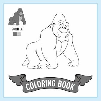 Libro da colorare di animali gorilla